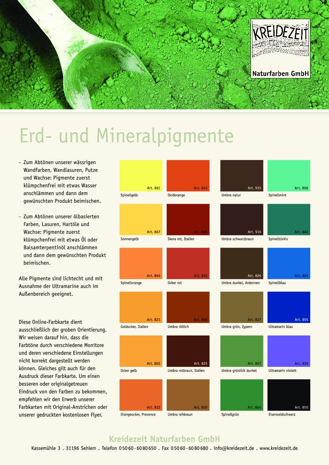 Farbkarte Erd-Mineral Pigmente - Klicken zum Download als PDF