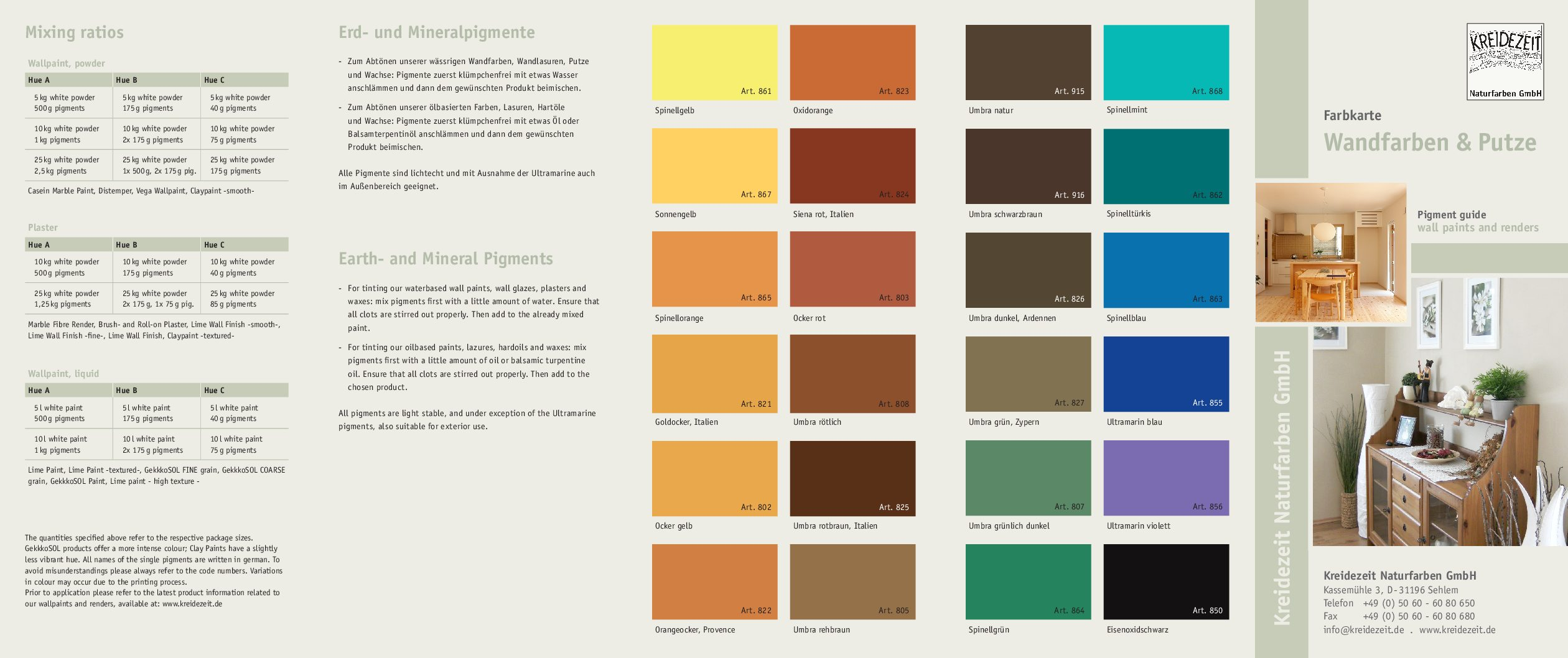 Farbkarte Wandfarben Und Putze